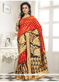Girlish Lace Work Orange Banarasi Silk Designer Saree