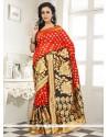 Girlish Lace Work Orange Banarasi Silk Designer Saree
