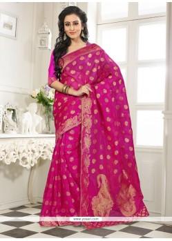 Lustrous Banarasi Silk Lace Work Designer Saree