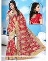 Brilliant Net Red Designer Saree