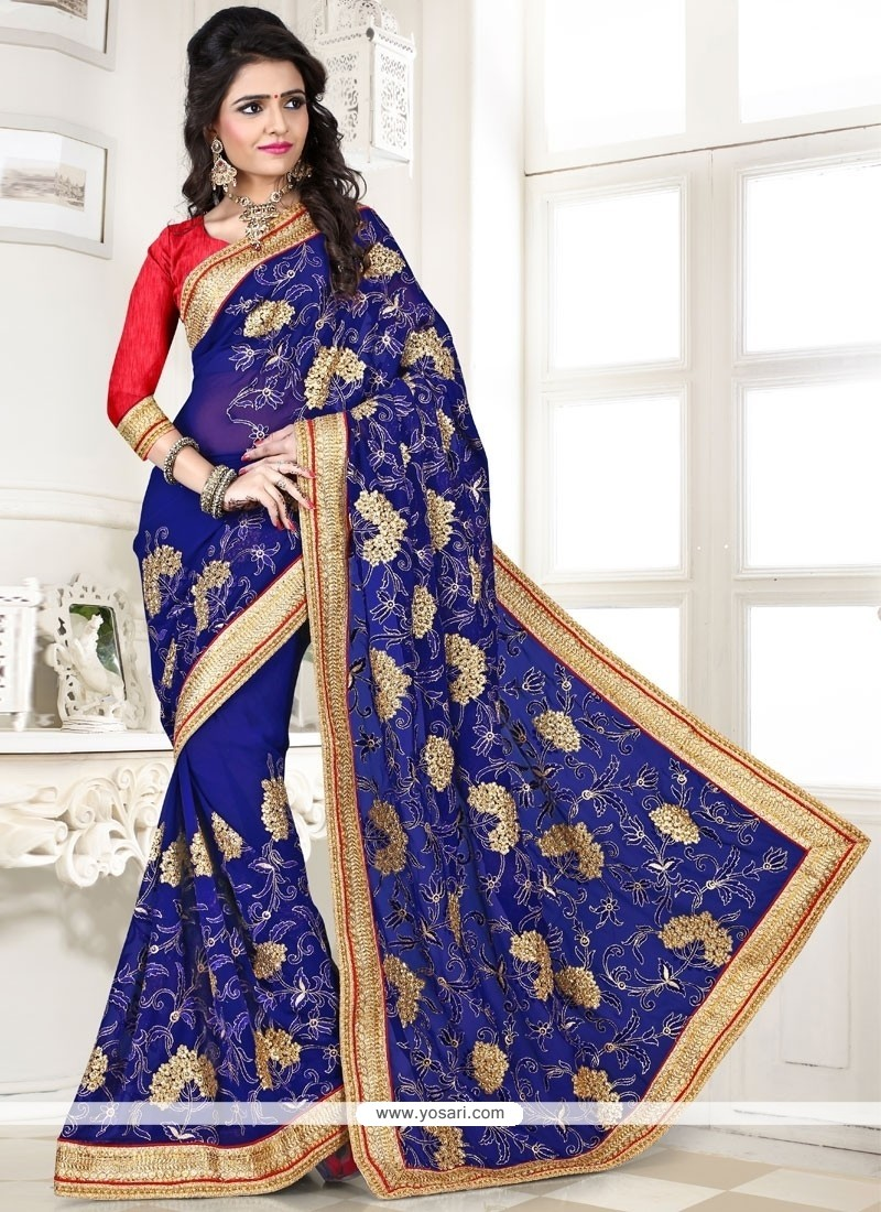 Magnificent Blue Lace Work Georgette Designer Saree