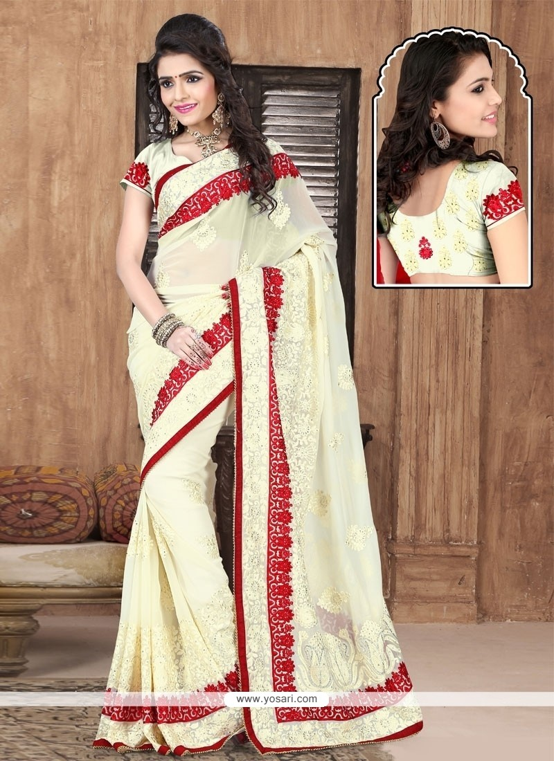 Integral Georgette Off White Resham Work Designer Saree