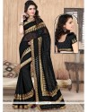Outstanding Embroidered Work Black Designer Saree
