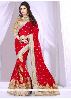 Trendy Red Georgette Designer Saree