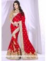 Trendy Red Georgette Designer Saree