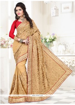 Refreshing Georgette Patch Border Work Designer Saree