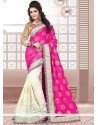 Sophisticated Hot Pink And White Patch Border Work Half N Half Saree