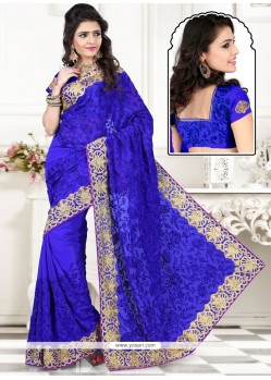Fascinating Georgette Blue Designer Saree