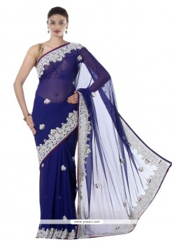 Versatile Resham Work Faux Chiffon Designer Saree
