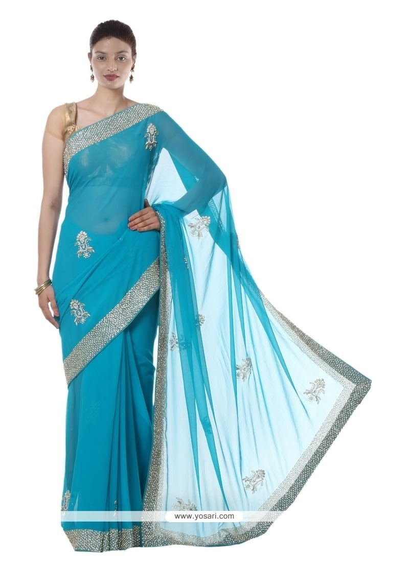 Fascinating Embroidered Work Faux Chiffon Designer Saree