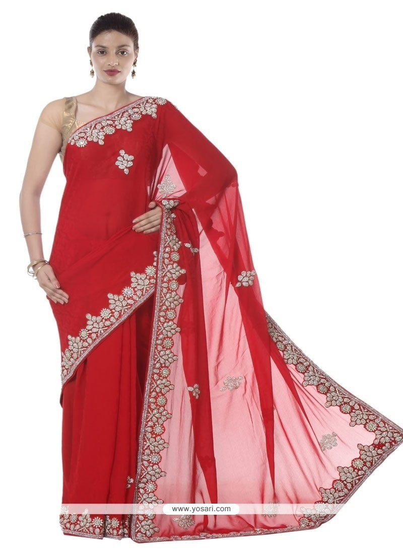 Staggering Red Patch Border Work Jacquard Designer Saree