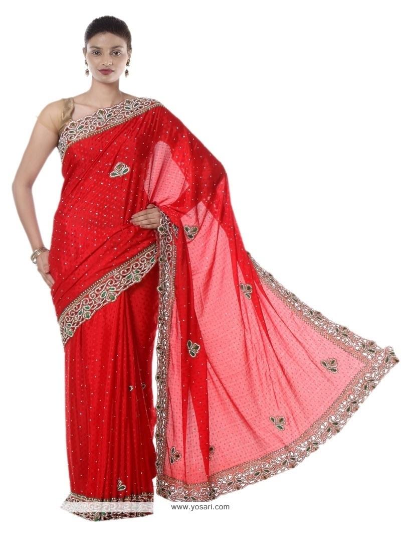 Competent Red Jacquard Designer Saree