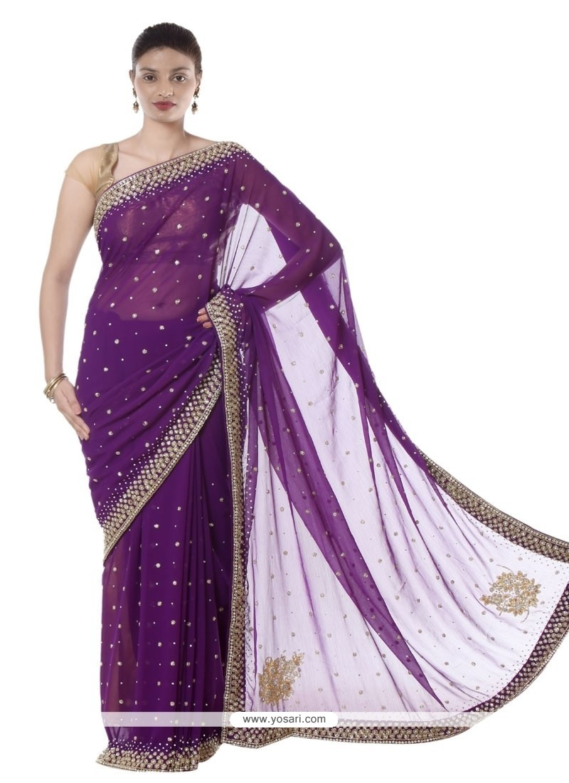 Irresistible Faux Chiffon Purple Lace Work Designer Saree