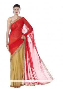 Unique Red Resham Work Net Designer Saree