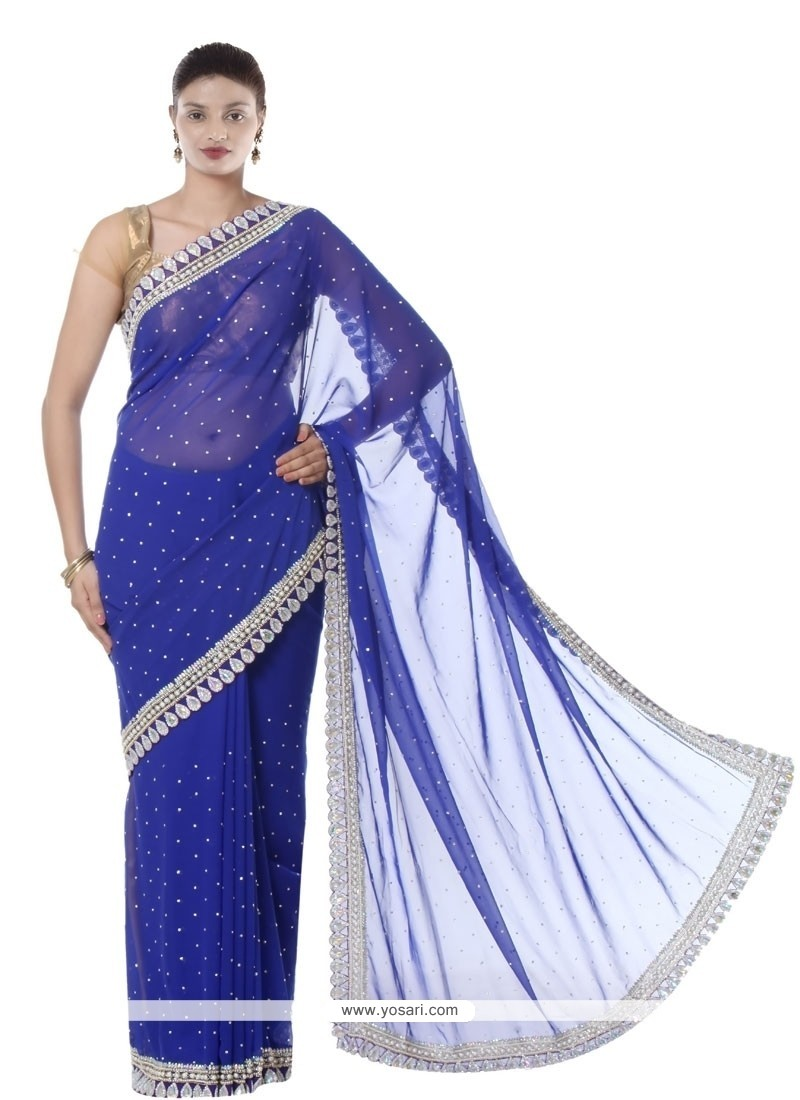 Thrilling Embroidered Work Georgette Designer Saree