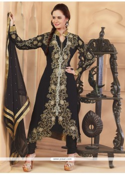 Delightful Black Embroidery Anarkali Suit
