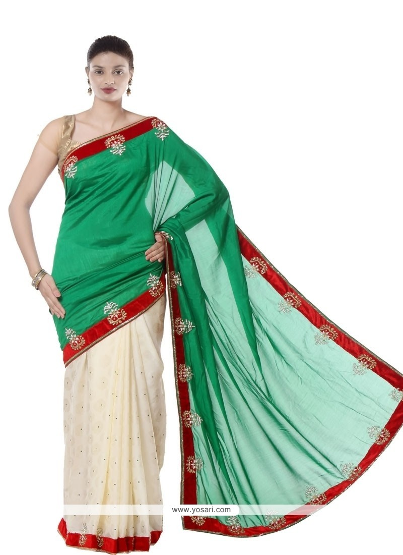 Graceful Jacquard Green And White Designer Saree