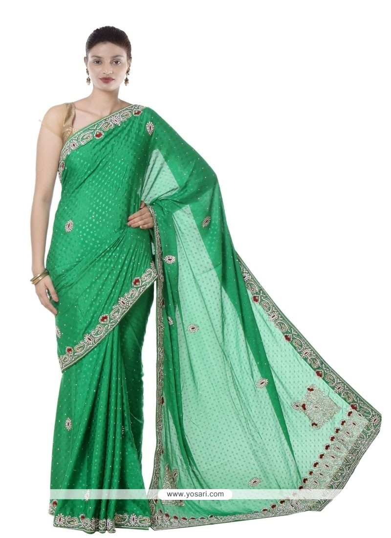 Whimsical Jacquard Green Designer Saree