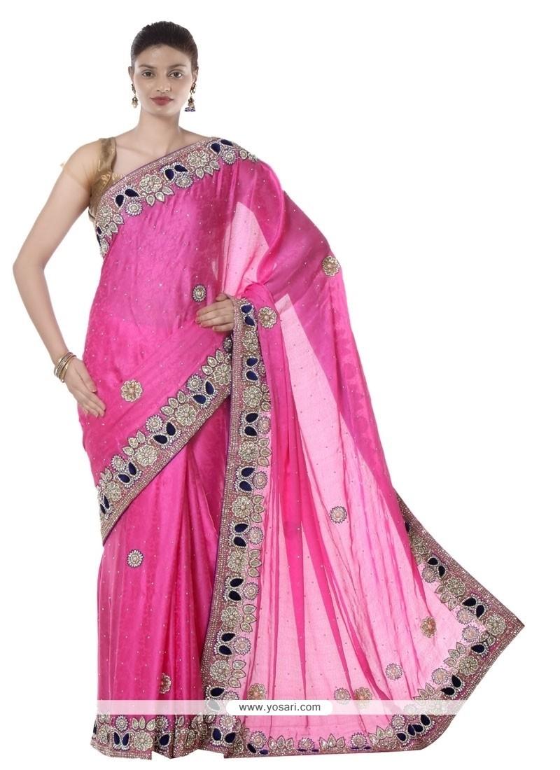 Intriguing Hot Pink Resham Work Designer Saree