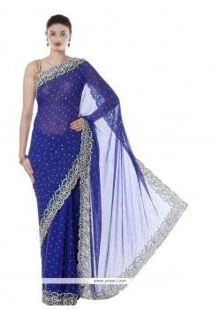 Competent Faux Chiffon Resham Work Designer Saree