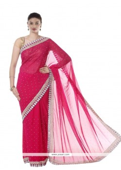 Delightsome Hot Pink Lace Work Georgette Designer Saree