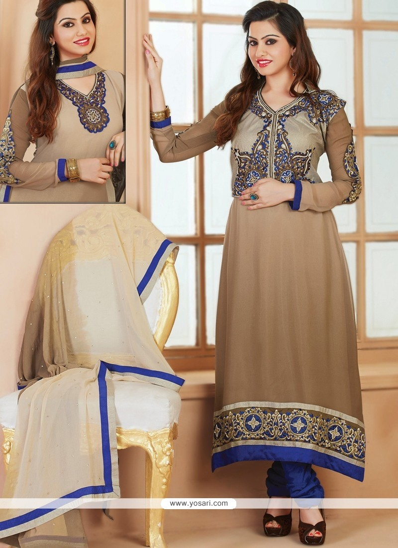 Beige And Brown Shaded Georgette Salwar Suit