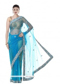 Awesome Net Turquoise Designer Saree
