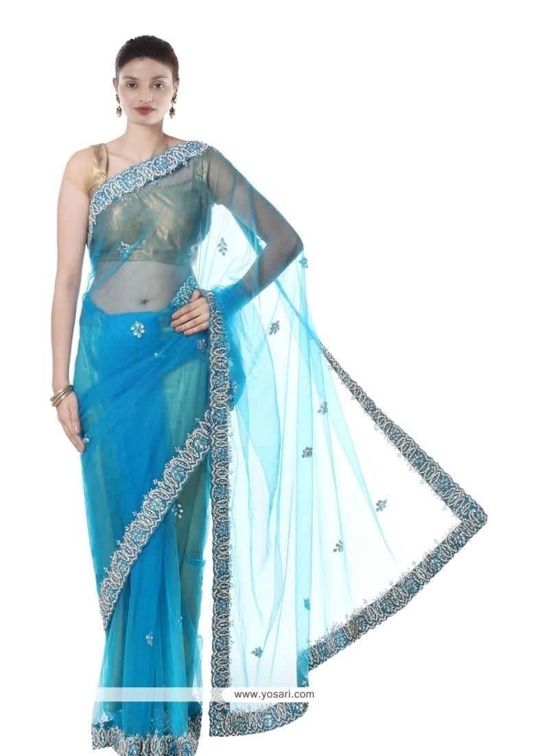 Awesome Net Turquoise Designer Saree