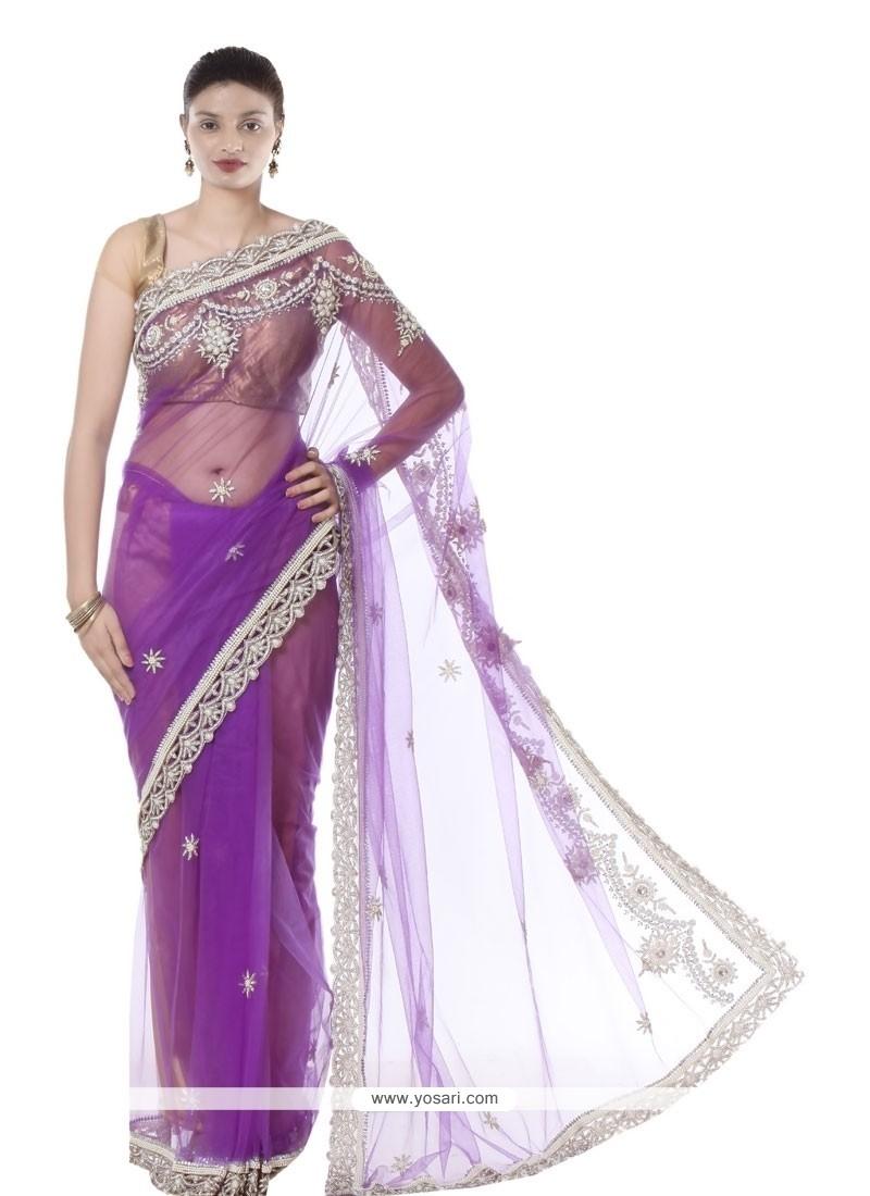 Girlish Net Lace Work Designer Saree