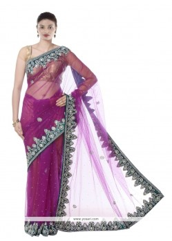Enthralling Net Purple Designer Saree