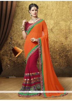 Cute Zari Work Orange Designer Saree