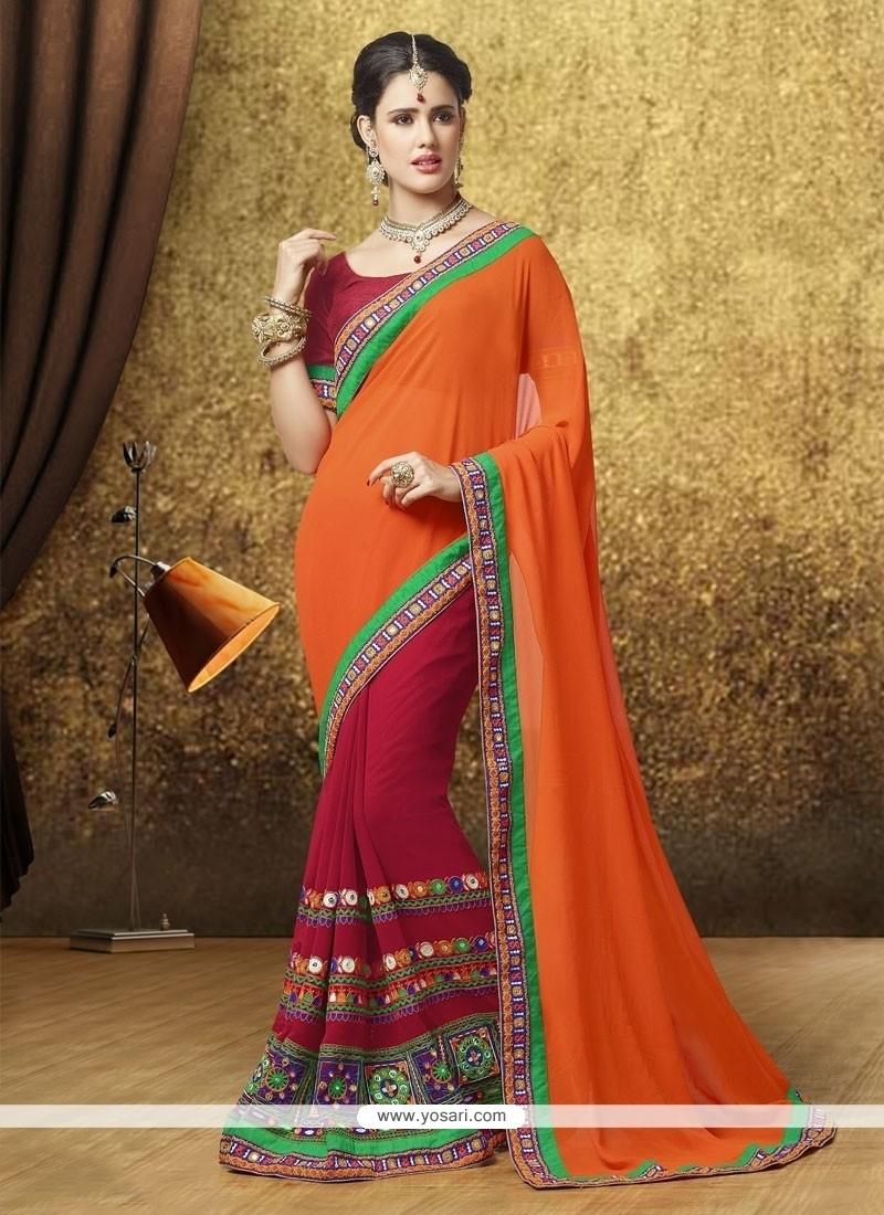 Cute Zari Work Orange Designer Saree