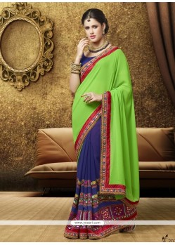 Noble Sea Green Georgette Designer Saree