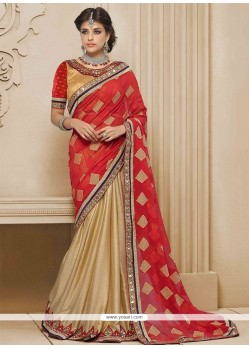 Catchy Cream And Red Resham Work Designer Saree