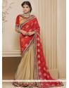 Catchy Cream And Red Resham Work Designer Saree