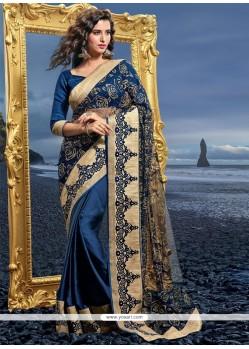 Ideal Resham Work Blue Designer Saree