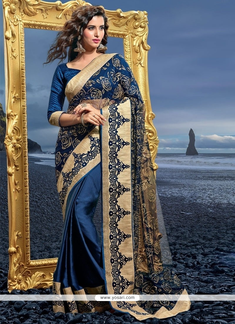 Ideal Resham Work Blue Designer Saree