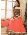 Competent Peach Embroidery Anarkali Salwar Suit