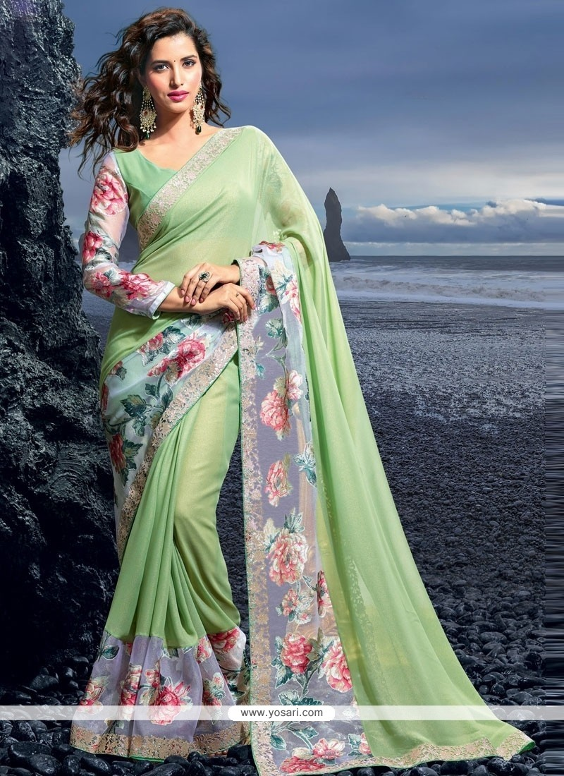 Outstanding Resham Work Georgette Designer Saree