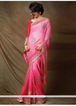 Angelic Faux Chiffon Pink Designer Saree