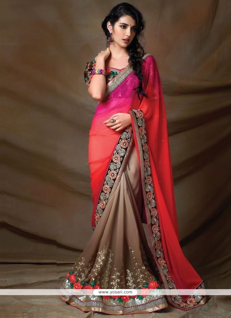 Phenomenal Hot Pink And Orange Georgette Designer Saree