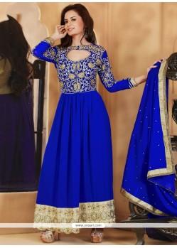 Blooming Blue Faux Georgette Anarkali Suit
