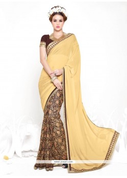 Dazzling Print Work Beige Casual Saree