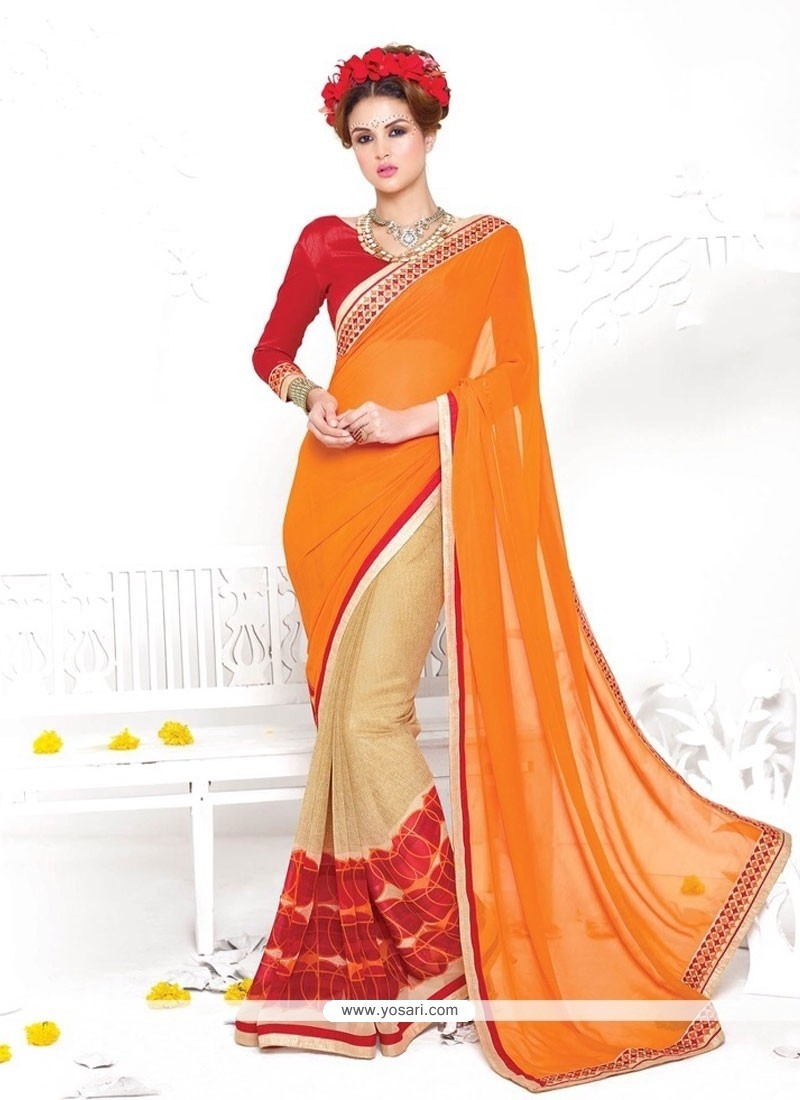 Sorcerous Georgette Orange Casual Saree