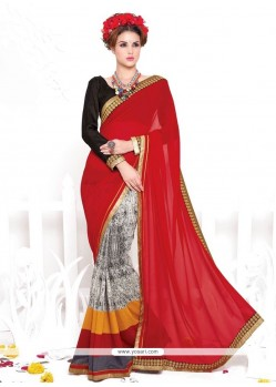 Red Print Work Georgette Casual Saree