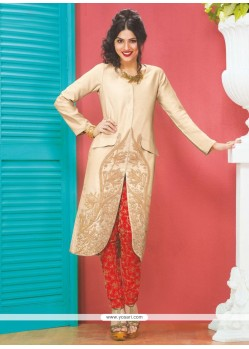 Red And Cream Dhupion Silk Pant Styles Anarkali Suit