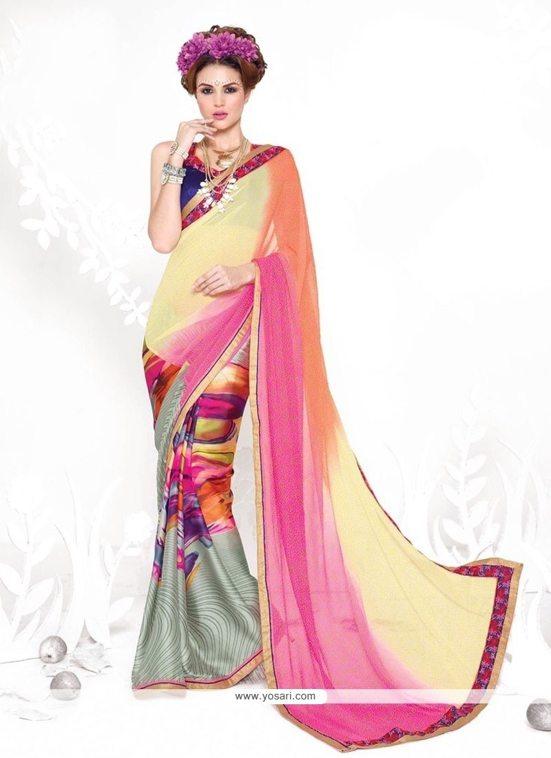 Grandiose Print Work Grey Georgette Casual Saree