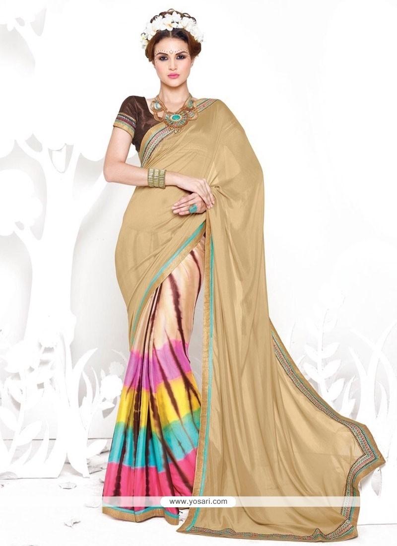 Fine Print Work Crepe Silk Casual Saree