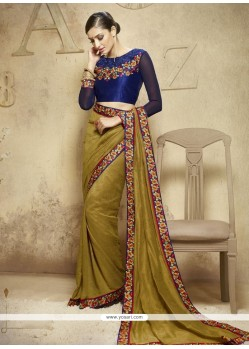 Cute Viscose Green Designer Saree
