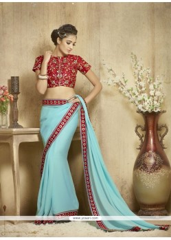 Suave Georgette Lace Work Designer Saree